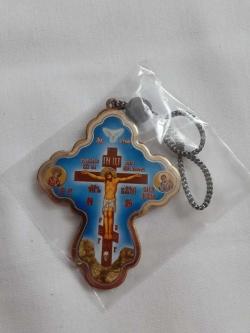 Автомобильной крест икона синяя