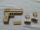 Деревянной пистолет резинкострел с мешенью